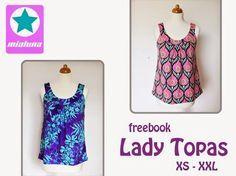 Free ladies tank top sewing pattern. XS - XXL German. Click on photo for pdf download. https://www.dropbox.com/s/pjktlh009jnfwqp/mialuna%20Freebook%20Lady%20Topas.pdf