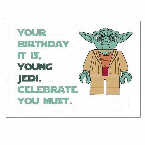 Lego Birthday Card Printable Fresh Items Similar To Lego Star Wars Yoda Birthday Card On Etsy Funny Star Wars Gifts Lego Star Wars Birthday Star Wars Cards