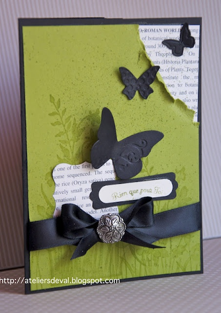 Stampin Up, Card, distressed corner, nice layers, Beautiful Wings embosslit