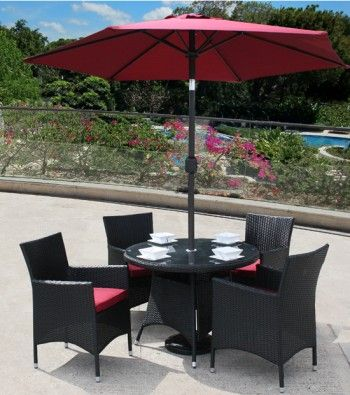 Lincoln 4 Seater Black Rattan Garden Furniture Set.