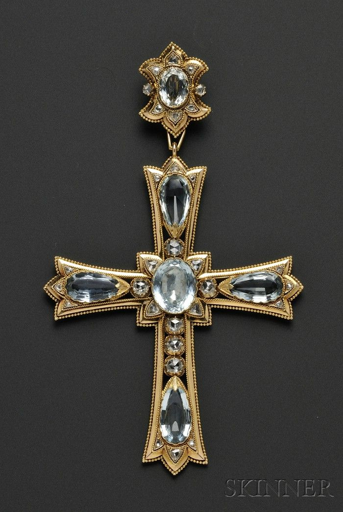 Large Antique 18kt Gold, Aquamarine, and Diamond Pendant Cross, Mellerio Dits Meller ,France | Sale Number 2539B, Lot Number 501 | Skinner Auctioneers