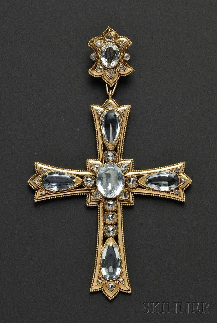 Large Antique 18kt Gold, Aquamarine, and Diamond Pendant Cross, Mellerio Dits Meller ,France | Sale Number 2539B, Lot Number 501 | Skinner Auctioneers