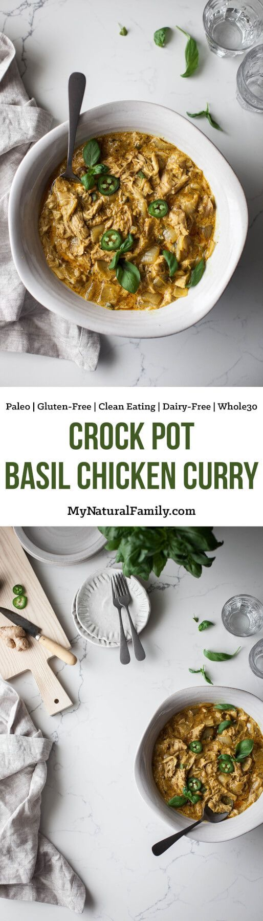 This coconut curry chicken recipe gets so tender and flavorful in the crock pot. I crave it all the time! {Paleo, Gluten-Free, Clean Eating, Dairy-Free, Whole30}