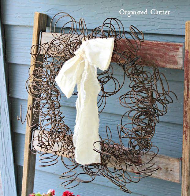 A Junk Garden Rusty Spring Wreath www.organizedclutter.net