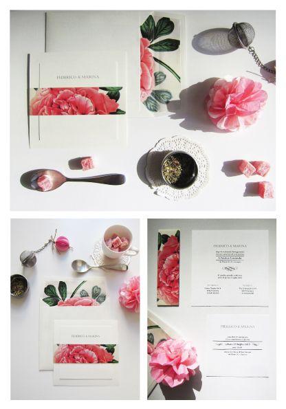 Partecipazioni a tema Tea Time a schede multiple e fascetta personalizzata con stampa fiore