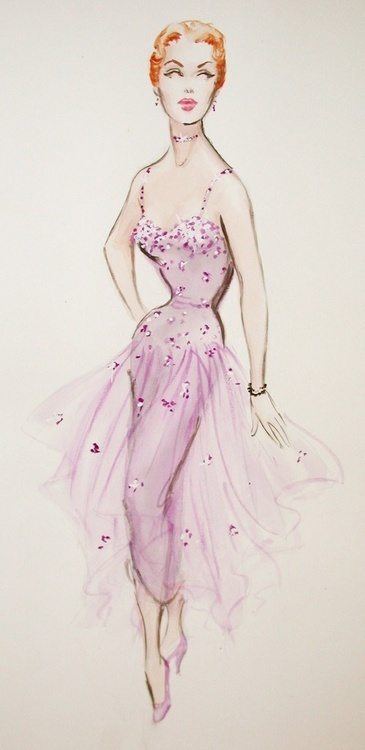 She was so talented and influential.  Edith Head Costume Design Sketch.  I wonder what movie it was from.