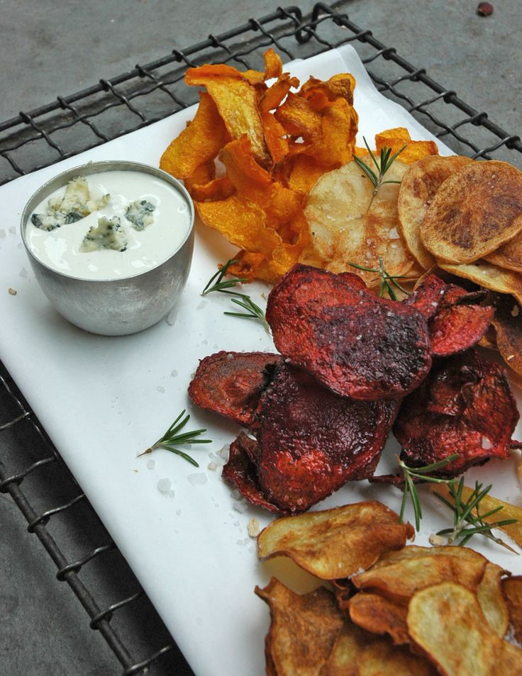 Vegetable Chips w/ Creamy Blue Cheese Dip (use beets, sweet potato ...