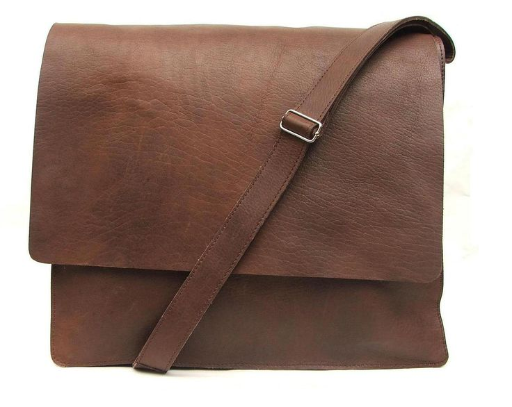 Mens Messenger bag made of 100% Brown Leather for  every day use as  laptop book or  school bag by abizema on Etsy