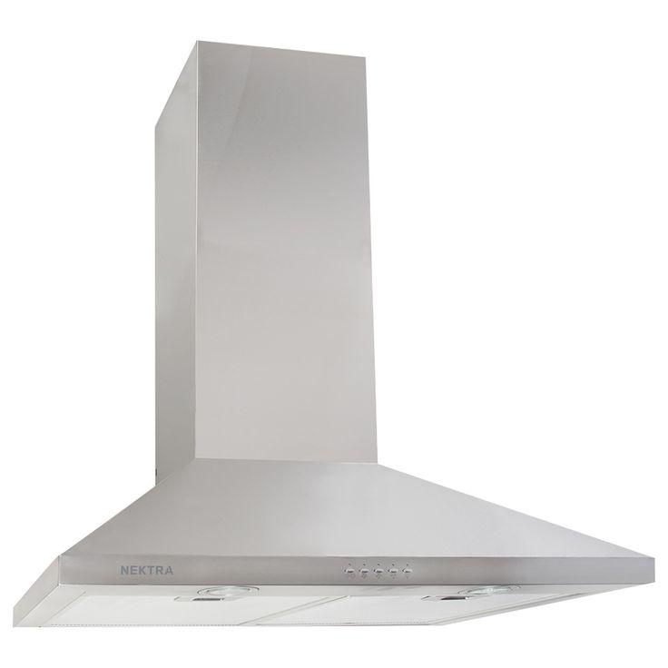 Hotte de cuisinière en acier inoxydable de style cheminée. Puissance maximale de 450 pi³/min avec 3 réglages de vitesse. Commandes électroniques. Filtres en aluminium lavables. Éclairage halogène (2 ampoules GU10 incluses). Fonction automatique d'arrêt différé. Conduit de cheminée télescopique pour une hauteur de plafond jusqu'à 8 pi (sections de cheminée supplémentaires vendues séparément). Clapet-adaptateur de transition 6 po et tuyau en aluminium flexible 6 po inclus.