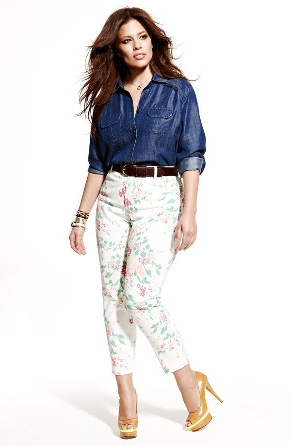 Sejour Chambray Shirt & NYDJ Floral Print Ankle Jeans