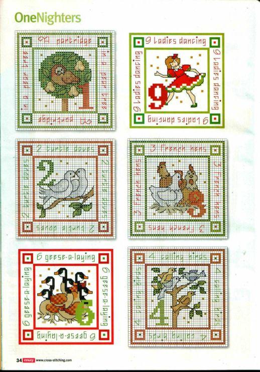 12 Days Of Christmas part 1 free cross stitch patterns