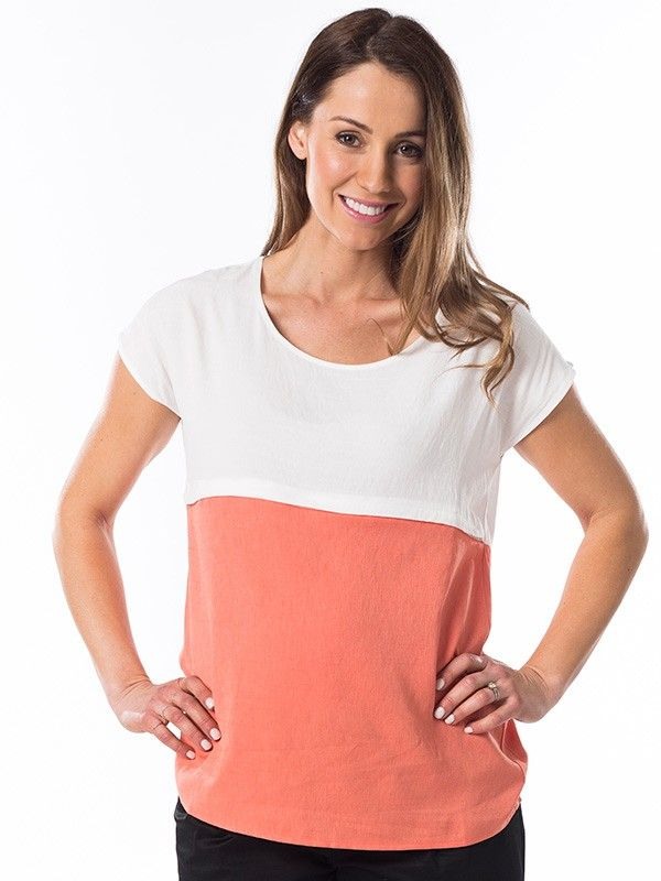Sorbet Nursing Top in Mandarin from breastmates.co.nz -- Relaxed linen-blend nursing top in cool sorbet colourblock colours, perfect for summer. Chic and flattering with horizontal zip breastfeeding access which keeps your tummy covered!