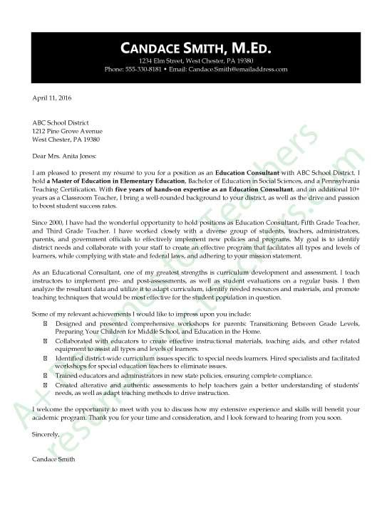 Education Consultant Application Letter Sample Education - cover letter for teachers
