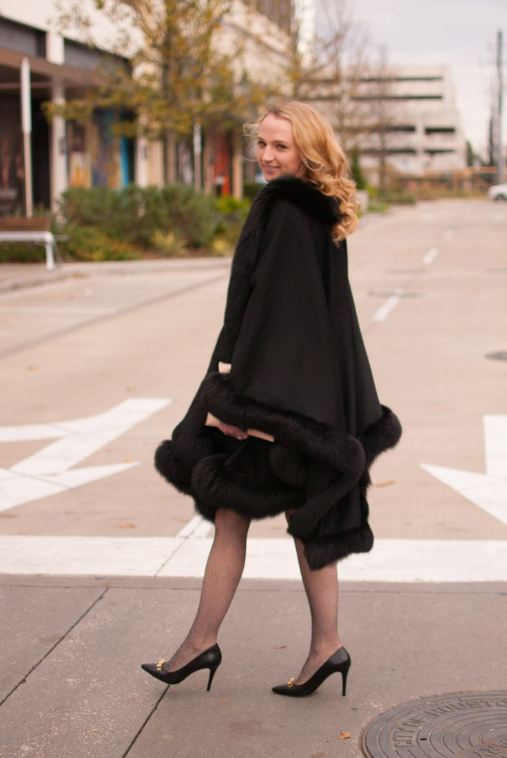 Metallic fishnet tights, black heels, blush clutch and a cashmere and mink cape
