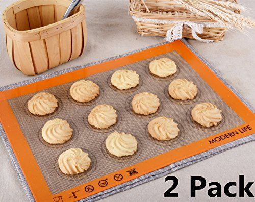 Modern Life Non Stick Silicone Baking Mat for Cookies 2 Pack Extra Thick Half Sheet Silicone Bakeware Set BPA Free and FDA Approved >>> Be sure to check out this awesome product.