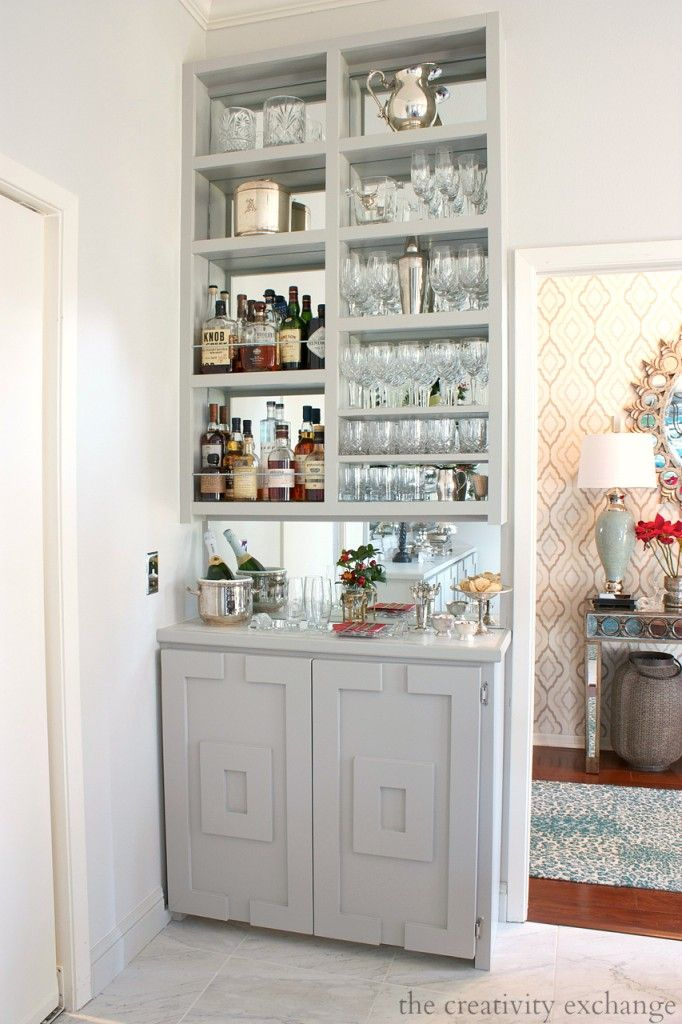 DIY Narrow Built-In Bar with Plans. 8 Creative DIY storage solutions for narrow spaces.