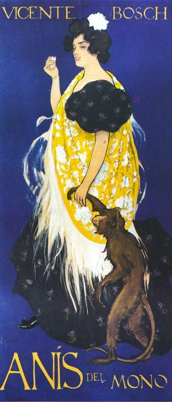 Cartel ganador del concurso para Anís del Mono de Ramón Casas