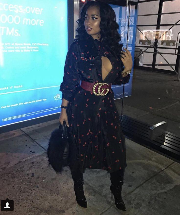 Tammy Rivera NYFW 2017 Diesel dress & Gucci belt