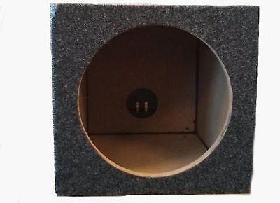 "CAR AUDIO SINGLE 8 INCH SUB BOX WOOFER SUBWOOFER SEALED ENCLOSURE CARPETED. 8"" Subwoofer Box Dimensions: Width: 10 3/8"" Height: 9 3/4"" Depth: 10 1/8"" Mounting Depth: 8 3/4"" Material: 5/8"" MDF Hole Diameter is 7"" Color: Charcoal."