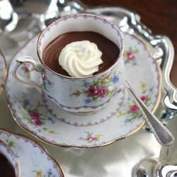 A simple stovetop method yields rich and silky pots de creme.  A perfect autumn dessert, scented with the warm spices of chai tea.