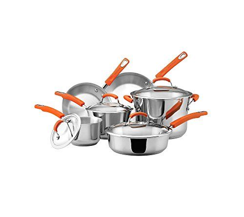 """Set includes: 2.15- and 2.5-qt. covered saucepans, 8.5"""" and 10"""" skillets, 6.5-qt. covered stockpot and a 3-qt. covered saut= Stainless steel construction has a modern, professional look and is incredibly easy to clean Pots, pans and skillets heat up quickly and evenly for easier cooking Thick aluminum base fully encapsulated in stainless steel Suitable for use on all"""