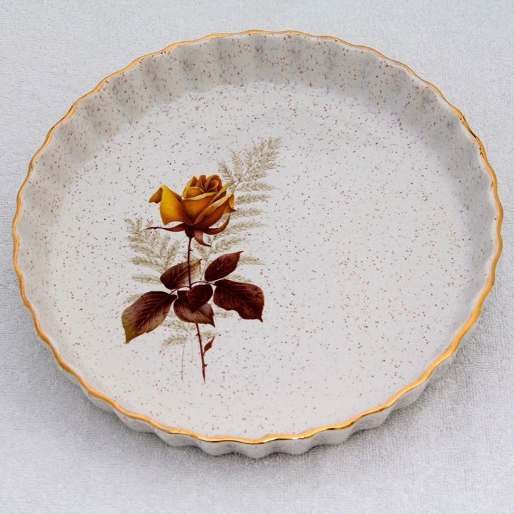 KERNEWEK Pottery Quiche Flan Dish 9.5in Cornwall Goonhavern Cottage Autumn Rose