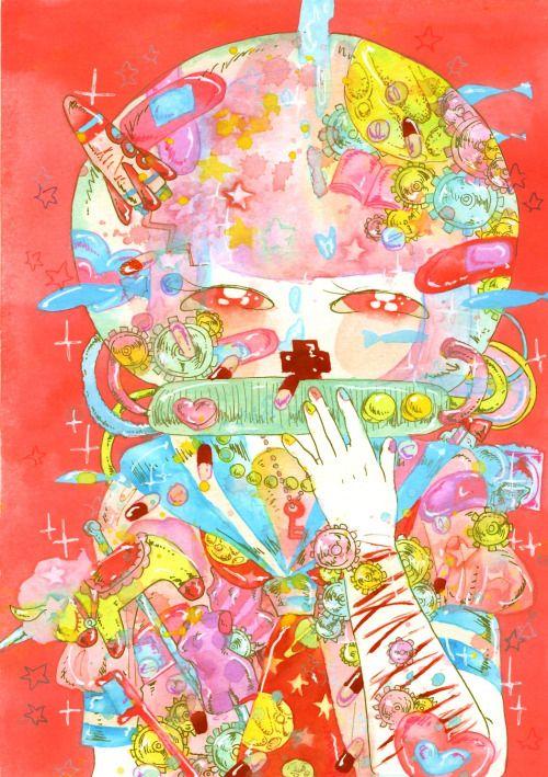 ほほえみ 物子さん主催の自称×自傷行為と言うイラスト本に描かせて頂いた絵。 ありがとうございました!