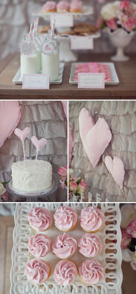 """Girly Milk & Cookies Birthday Party in Pink and Gray.  Love the cupcakes with the """"pearls"""""""
