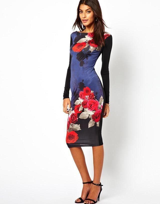 Платье футляр длинный рукав, женщины цветочный принт сексуальный с низким вырезом на спине винтажный с круглым вырезом приталенный Vestidos femininos клуб платья QZ1734 купить на AliExpress