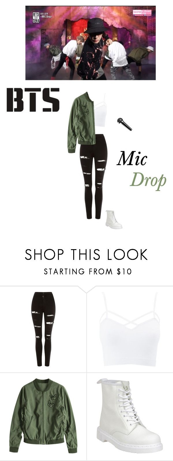 """""""Bts- mic drop live performance"""" by mochichimchim ❤ liked on Polyvore featuring Topshop, Charlotte Russe, Dr. Martens and plus size clothing"""