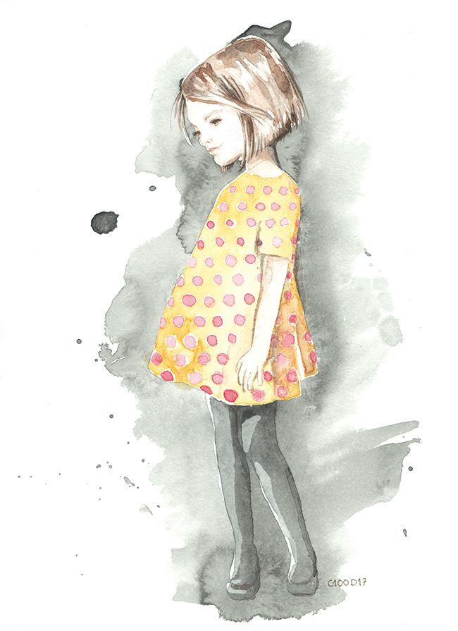 Watercolor Little Girl Girl With A Polka Dot Yellow Dress
