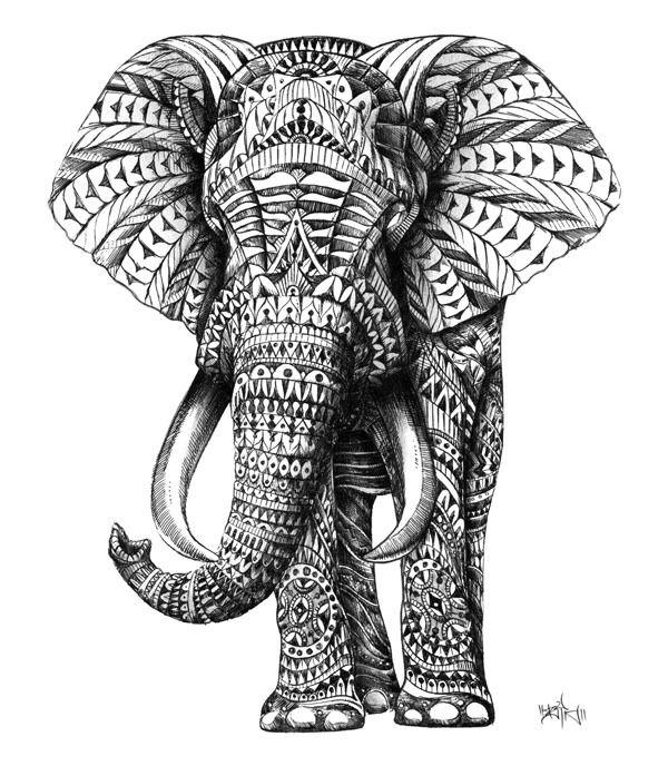 Ornate Elephant Art Print by BioWorkZ Society6 ❤ liked on Polyvore