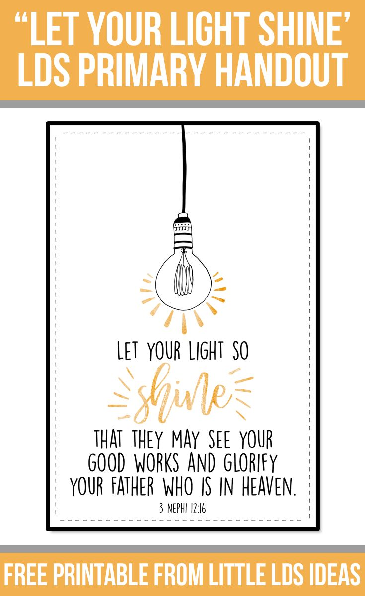 """Let Your Light Shine"" LDS Handout: Free Printable from Little LDS IdeasLittle LDS Ideas"