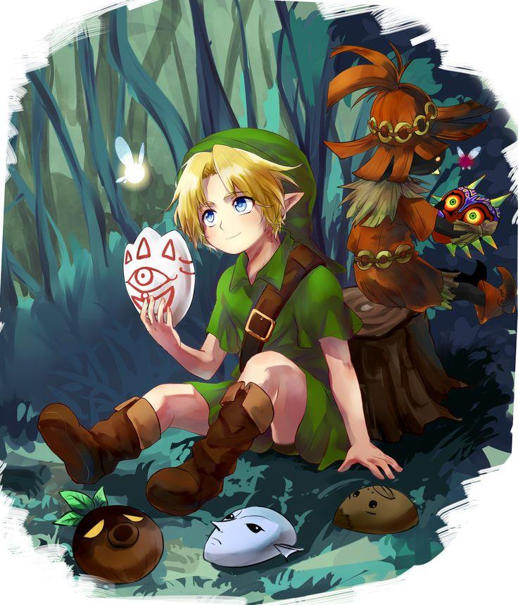 The Legend of Zelda: Majora's Mask / Young Link, Tatl, Skull Kid, and Tael.