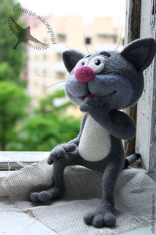 Купить Котёнок с улицы Лизюкова (игрушка валяная) - серый, котенок с улицы лизюкова, котенок, кот