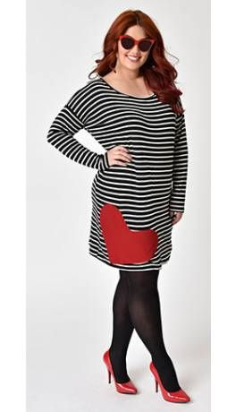 01d1b137e8c Retro Style Plus Size Black   White Striped with Red Heart Patch Shift Dress
