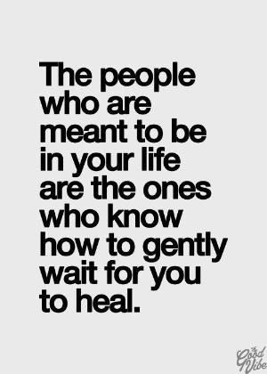 The people who are meant to be in your life are the ones who know how to gently wait for you to heal. by AislingH