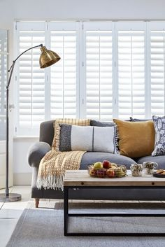 These full-height shutters - part of the Atmosphere range from the House Beautiful collection at Hillarys - cover the entire window for privacy and contemporary elegance. Choose a pale blue finish to create depth in a neutral living room. Find out more about House Beautiful collections at http://housebeautiful.co.uk