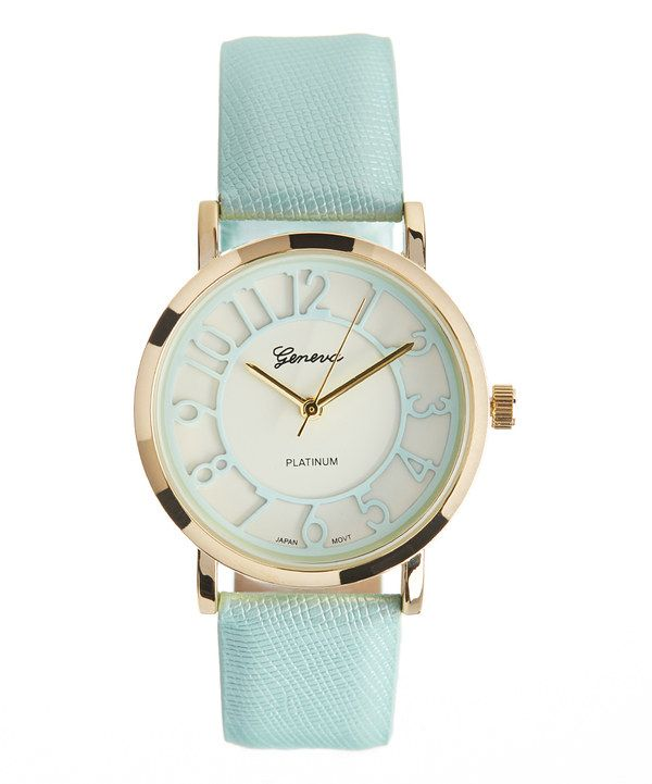 Look at this Gold & Mint Watch on #zulily today!