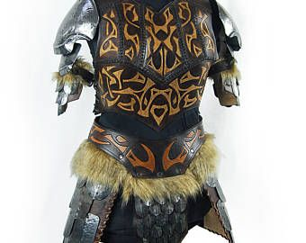 Nordic steel and leather female larp armor . Viking armor. Savage armor. Scalemail armor. Party costyme.