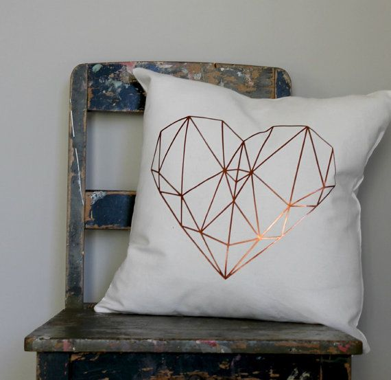 Geometric metallic copper heart design on white furnishing cotton pillow cover.  + Sizes 40 x 40cm approx. 16 x 16, 45 x 45cm approx. 18 x 18 50 x 50cm approx. 20 x 20  + Cover only excludes inner available at your local craft or home store.  + Pattern of front of Cover back of cushion cover plain + High quality YKK Invisible zipper closure for easy access.  + Your cushion is made to order so please allow 2 - 5 days to create it. Also if you want it in a specific size just convo me and it…