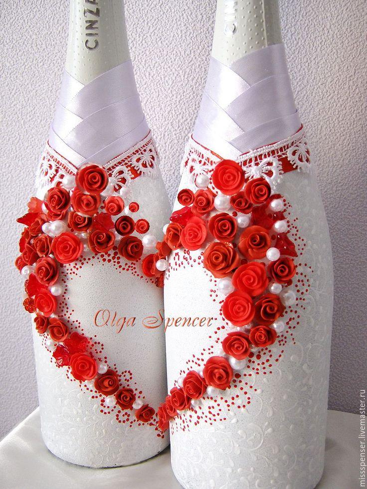 """Купить Свадебное шампанское """"Красные розы"""" - свадебное шампанское, красный, алый, шампанское на свадьбу"""