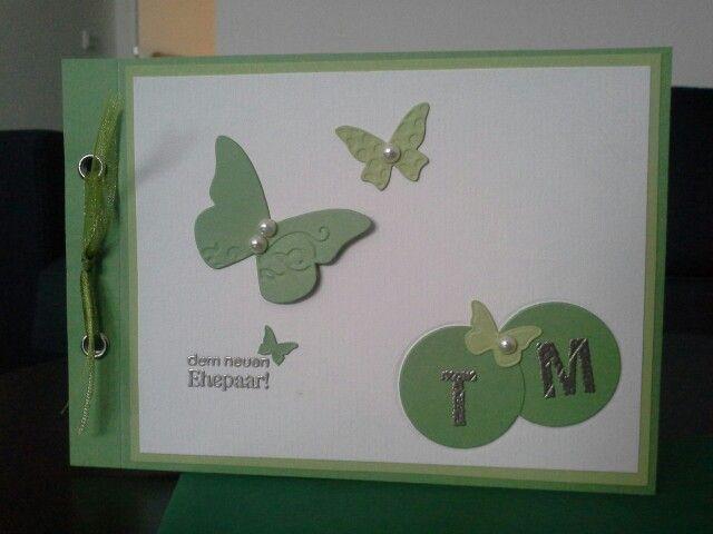 Hochzeitskarte grün,  embossing...