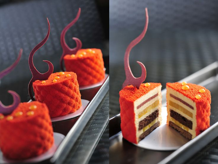 Thomas Trillion - Royal - Chocolate biscuit base with layers of yellow fruit compote, cocoa gelee and creamy caramel.