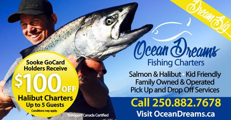 No need to cast a wide net when looking for a memorable fishing excursion. Ocean Dreams Fishing Charters will take you and your whole family (even the youngest members) on a trip you'll never forget. Call Dave today and use your GoCard to save $100 on a halibut charter for up to 5 people! Dream big and reel in a lunker! Get a GoCard here: http://thegocard.ca/get-a-gocard #oceandreams #sookegocard #sookefishing