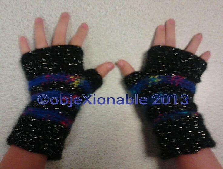 Blue multi and black sparkle crochet fingerless mittens/wristies