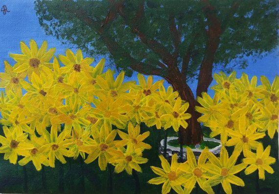 Dipinto con acrilici e acquerelli Paesaggio con di EleonorArte