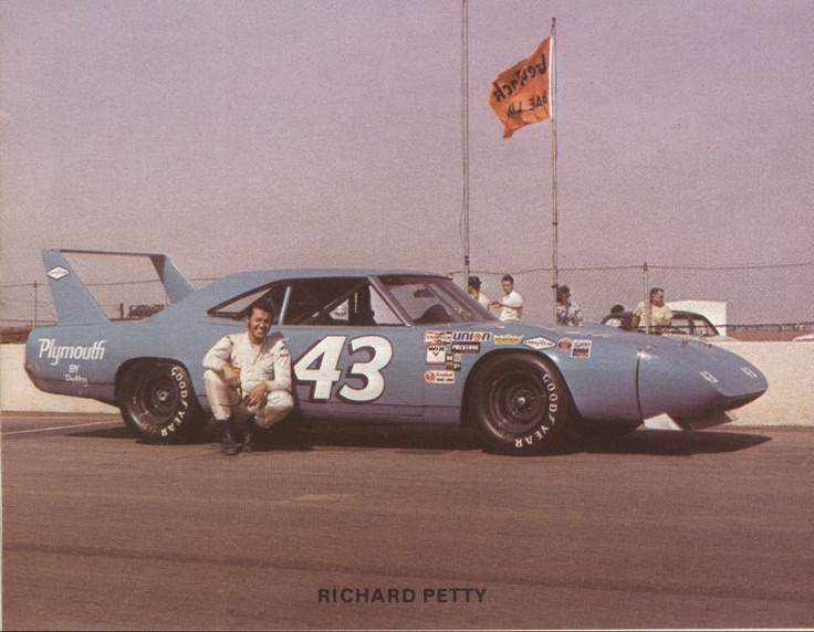 Richard Petty and his 1970 Plymouth Roadrunner Superbird. meep-meep
