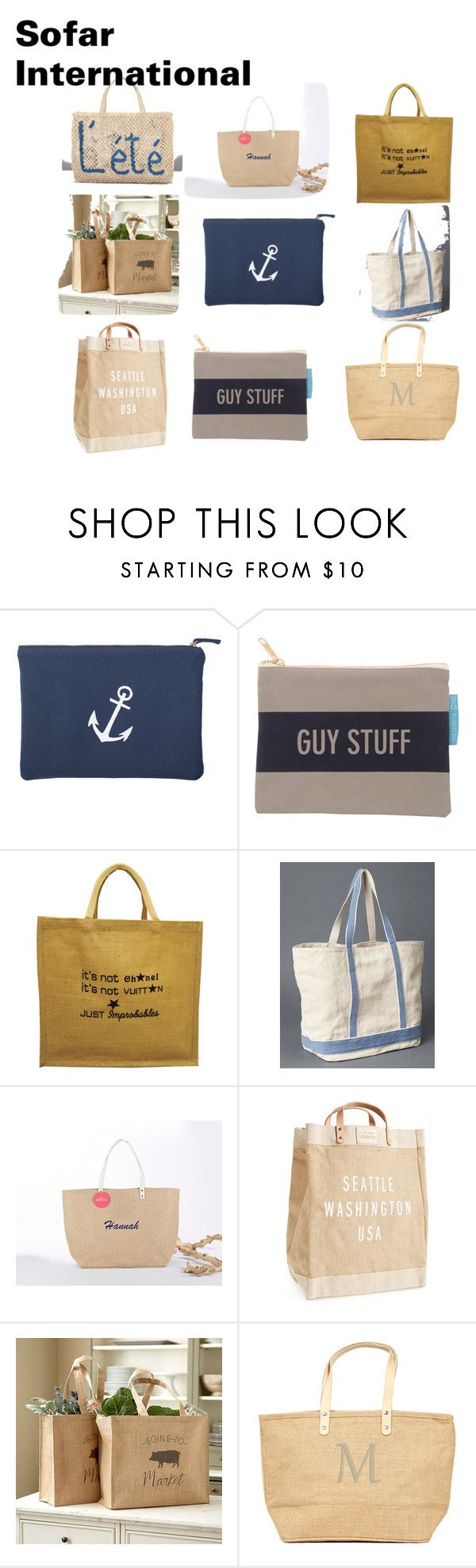 """Jute Bag/ Jute Shopping Bag/ Jute Promotional Bags"" by asifnazir on Polyvore featuring Izola, Gap, Ballard Designs, Cathy's Concepts and Été Swim"