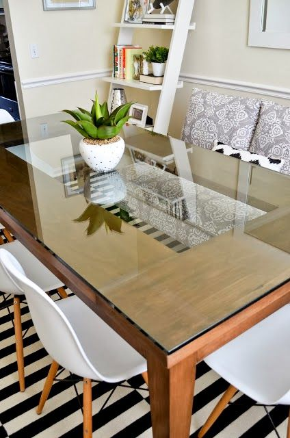 Inside Out Design Glass Top Dining Table With See Through Center